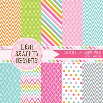 Crochet Digital Paper Graphics