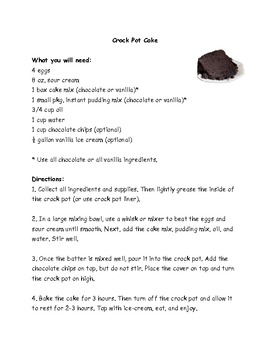 Crock Pot Cake Recipe Comprehension Test - King Virtue