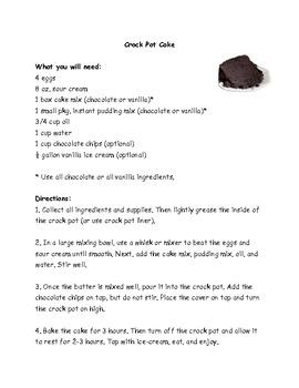 Crock Pot Cake Recipe Comprehension Test - King Virtue