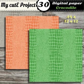 "Crocodile - Animal Prints- DIGITAL PAPER-Scrapbooking-A4 & 12x12"""