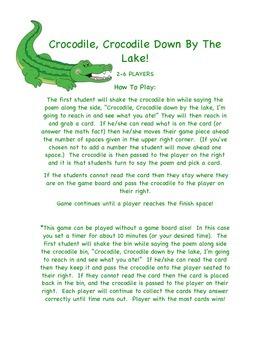 FREEBIE!  Crocodile, Crocodile Down By The Lake - GAME