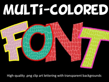 Crocodile Font - Multi-colored - Personal and Commercial Use