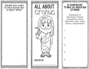 Cronus - Greek Mythology Biography Research Project - Interactive Notebook
