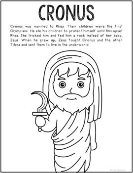 Cronus, Greek Mythology Informational Text Coloring Page Craft or Poster