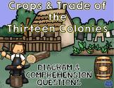 13 Colonies Crops & Trade Diagram and Comprehension Questions: Colonial America