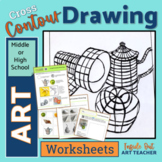 Cross Contour Line Drawing Worksheets Middle or High Schoo