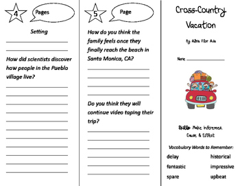 Cross Country Vacation Trifold - Storytown 2nd Grade Unit 6 Week 5