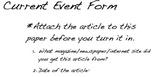 Cross Curricular Current Event Worksheet