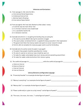 Cross Curricular Paired Passages, Questions and Answer Key #2