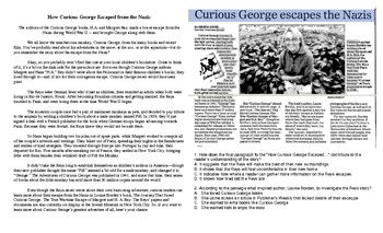 Cross Curricular Reading and SS WWII and Curious George