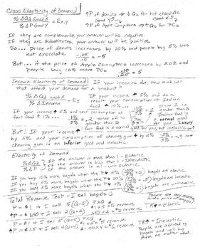 Cross Elasticity of Demand Study Sheet