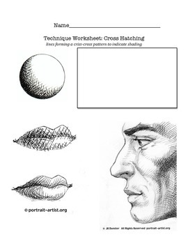 Cross-Hatching, Stippling, and Scumbling Worksheet.