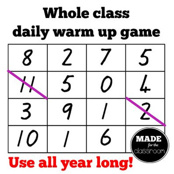 Cross It! Basic facts warm up game
