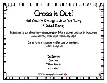 Cross It Out! Math Game for Strategy, Addition Fact Fluency  & Critical Thinking