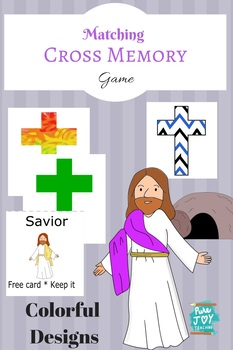 Cross Memory Match Game, Easter Colorful  Christian Holiday