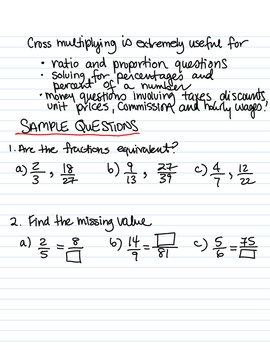 Cross Multiplying - instructional sheet