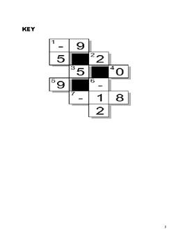 Cross-Number Puzzle - Adding and Subtracting Integers