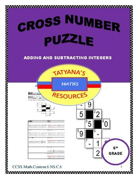 Cross-Number Puzzle - Adding and Sutracting Integers