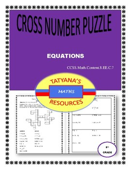 Cross-Number Puzzle with Workbook- Equations