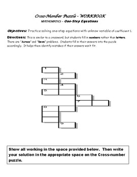 Cross-Number Puzzle - One Step Equation