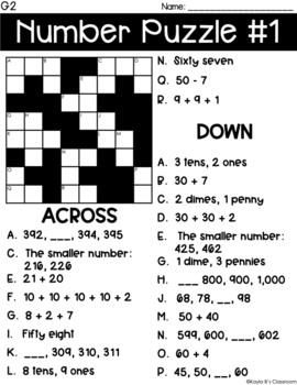 Cross Number Puzzles Grade 2