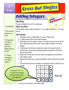 Cross Out Singles Adding Integers