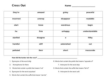 Cross Out - a game of prefixes, suffixes, synonyms and antonyms