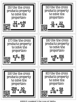 Cross Product Property (Proportions): 30 Task Cards **QR Codes Optional!**