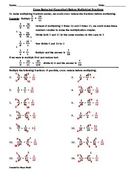 Cross Reducing Before Multiplying Fractions Worksheet  Teaching The  Cross Reducing Before Multiplying Fractions Worksheet  Teaching The Lesson