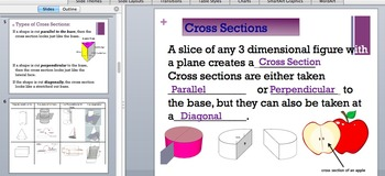 Cross Sections PowerPoint and Worksheet  7.G.A.3