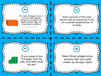 Cross Sections and 3-D Figures Task Cards: 7.G.3