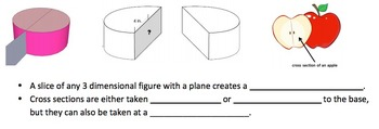 Cross-Sections of 3-D shapes Worksheet