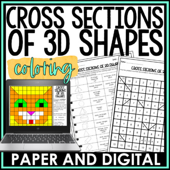 Cross Sections of 3D Figures Coloring Page