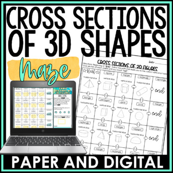 Cross Sections of 3D Figures Maze Activity