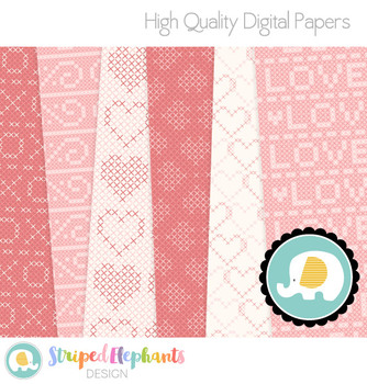 Cross Stitch Hearts Digital Papers
