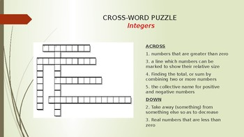 Cross Word Puzzle - Key terms associated with INTEGERS