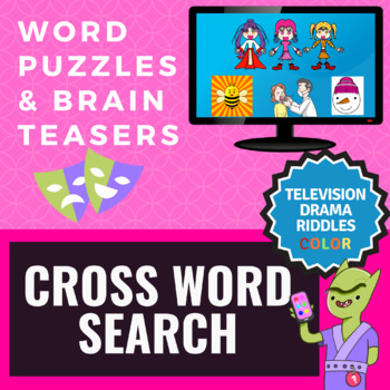 Cross Word Search SAT Vocabulary Slides - TV Drama Riddles Edition