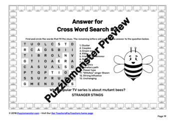 Cross Word Search SAT Vocabulary Worksheets - TV Drama Riddles Edition