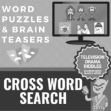 Cross Word Search SAT Vocabulary Worksheets - TV Drama Rid