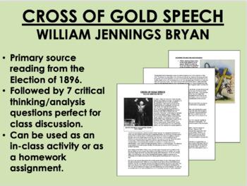 """Cross of Gold Speech"" - William Jennings Bryan - Election of 1896 - USH/APUSH"