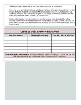 Cross of Gold Worksheet.