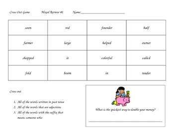 Cross out vocabulary worksheet/game