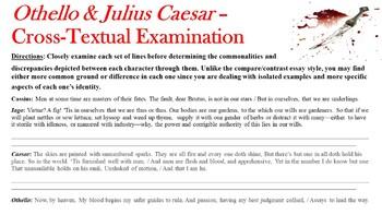 Cross-textual Examination Quiz - Shakespeare's Julius Caesar & Othello