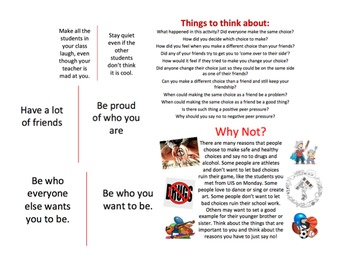 Red Ribbon Week Lesson: Cross the Line, Peer Pressure, Make good choices