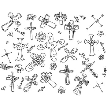 Crosses Easter Resurrection Day Clip Art & Coloring Page