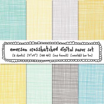 Crosshatch Digital Paper Set, Aqua, Blue, Yellow, Gray, Turquoise Backgrounds