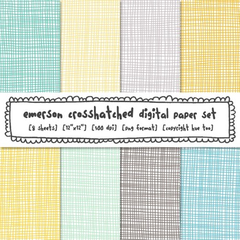 Crosshatch Digital Paper Set, Aqua, Blue, Yellow, Gray, Tu