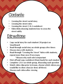 Crossing the Street- Social Story, Rules and worksheet