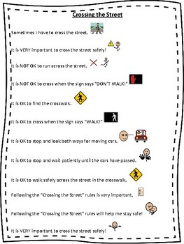 Crossing the Street- Social Story, Rules and worksheet | TpT