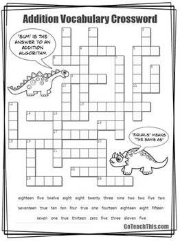 Crossword - Addition Vocabulary - What Does Plus Really Mean?
